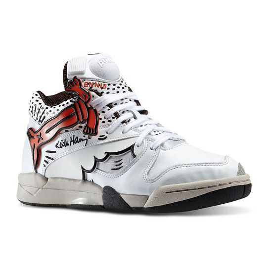 REEBOK MEN'S CLASSICS COURT VICTORY PUMP X KEITH HARING White / Black / Blazing Orange / Weathered White