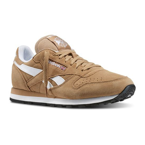 REEBOK MEN\'S CLASSICS CLASSIC LEATHER SUEDE Walnut / White / Black / Gold Met