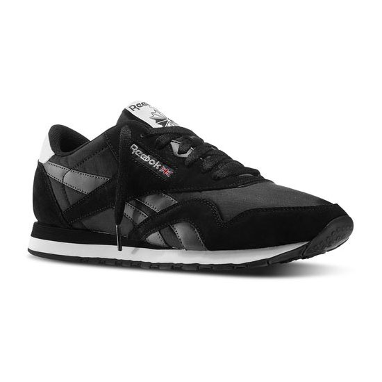 REEBOK MEN'S CLASSICS CLASSIC NYLON R13 Black / Rivet Grey / White