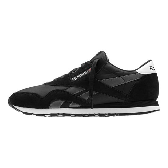 REEBOK MEN\'S CLASSICS CLASSIC NYLON R13 Black / Rivet Grey / White