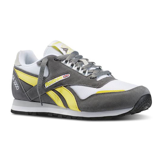 REEBOK MEN\'S CLASSICS CR 1000 TXT Medium Grey / White / Stinger Yellow / Steel / Black