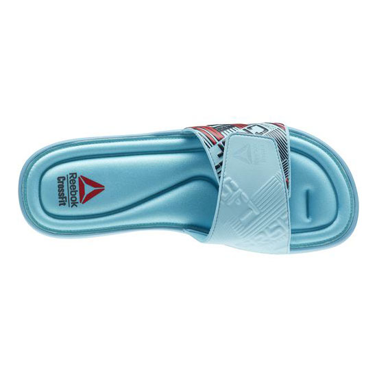 REEBOK MEN\'S CROSSFIT REEBOK CROSSFIT VICTORY SLIDE Neon Blue / Gravel / Red Rush