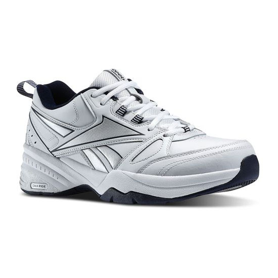 REEBOK MEN'S WALKING REEBOK ROYAL TRAINER 4E White / Reebok Navy / Pure Silver