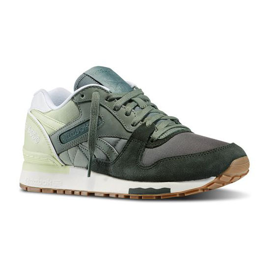 REEBOK WOMEN'S CLASSICS GL 6000 COLOR FADE Dark Sage / Silvery Green / Citrus Glow / White