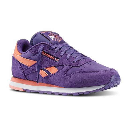 REEBOK WOMEN'S CLASSICS CLASSIC LEATHER SEASONAL II Sport Violet / Coral / White