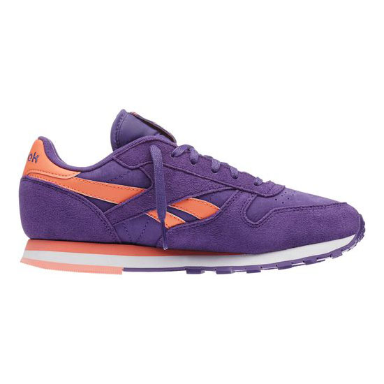 REEBOK WOMEN\'S CLASSICS CLASSIC LEATHER SEASONAL II Sport Violet / Coral / White