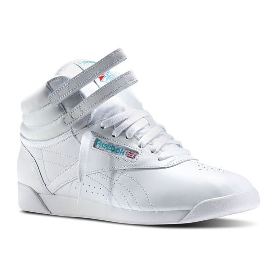 REEBOK WOMEN'S CLASSICS FREESTYLE HI White / Blue Trim