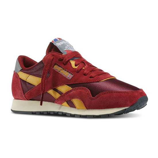 REEBOK WOMEN'S CLASSICS CLASSIC NYLON 80 VINTAGE Triathalon Red / Dark Red / Trophy Gold / Gravel / Foggy Grey